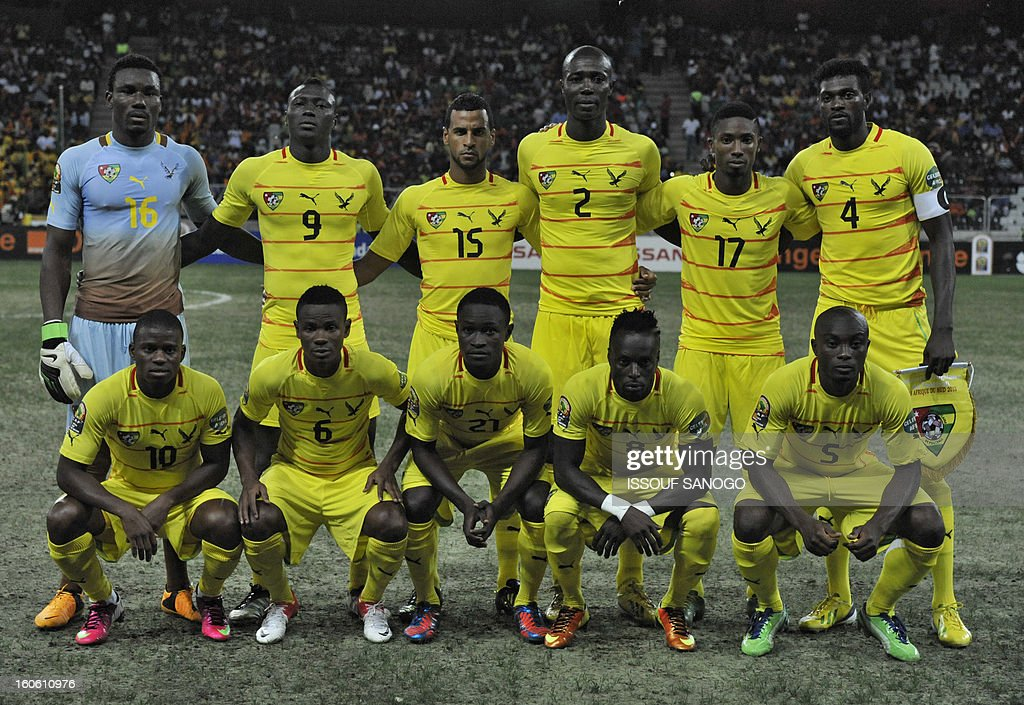 Togo's players line up prior to the African Cup of Nation 2013 quarter final football match Burkina Faso vsTogo, on February 3, 2013 in Nelspruit. (LtoR, up to bottom) Togo's goalkeeper Kossi Agassa, Togo's defender Vincent Bossou, Togo's midfielder Alaixys Romao, Togo's defender Dare Nibombe, Togo's forward Serge Gakpe, Togo's forward Emmanuel Adebayor, Togo's midfielder Floyd Ayite, Togo's defender Mamah Gaffar, Togo's defender Dakonam Djene, Togo's midfielder Komlan Amewou, Togo's defender Serge Akakpo.