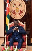 Togo's president Faure Gnassingbe is pictured on April 28 2015 at the presidential palace in Lome Togo's constitutional court confirmed on May 3 2015...