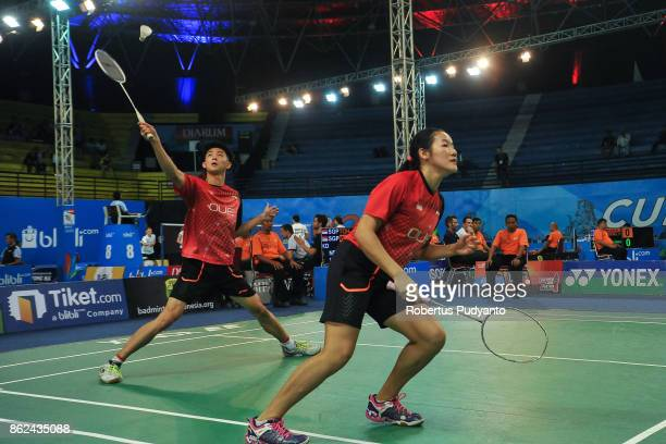 Toh Han Zhuo and Wong Jia Ying Crystal of Singapore compete against Pabin Kumar Lingthen and Jessica Gurung of Nepal during Mixed Double...