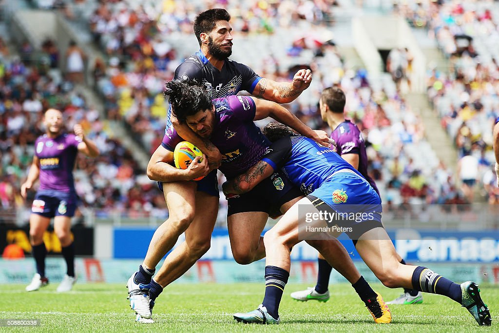Tohu Harris of the Melbourne Storm charges forward during the 2016 Auckland Nines quarter final match between the Melbourne Storm and the North Queensland Cowboys at Eden Park on February 7, 2016 in Auckland, New Zealand.