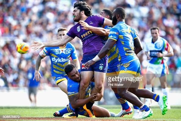 Tohu Harris of the Storm is tackled during the 2016 Auckland Nines semifinal match between the Storm and the Eels at Eden Park on February 7 2016 in...