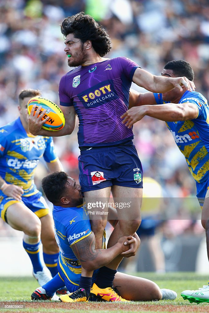 Tohu Harris of the Storm is tackled during the 2016 Auckland Nines semifinal match between the Storm and the Eels at Eden Park on February 7, 2016 in Auckland, New Zealand.