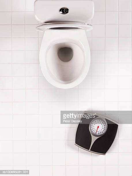 Toilet bowl and bathroom scales, directly above