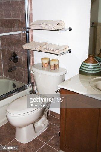 Toilet bowl in the bathroom : Foto de stock