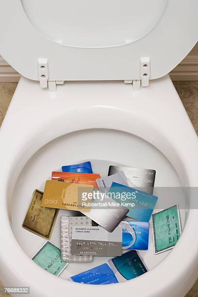 Toilet bowl with credit cards