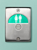 Toilet door sign male and female vacant