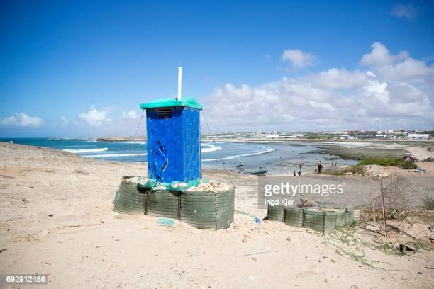 A toilet house is located on the beach near Mogadishu on May 01 2017 in Mogadischu Somalia