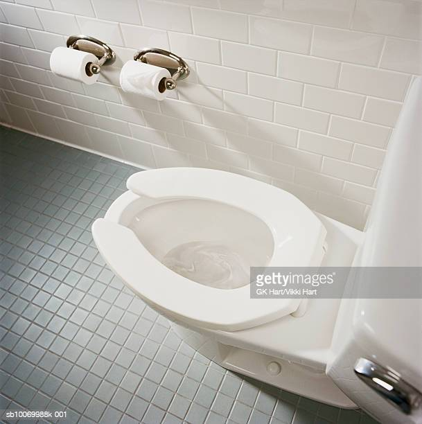 Toilet in bathroom, high angle view