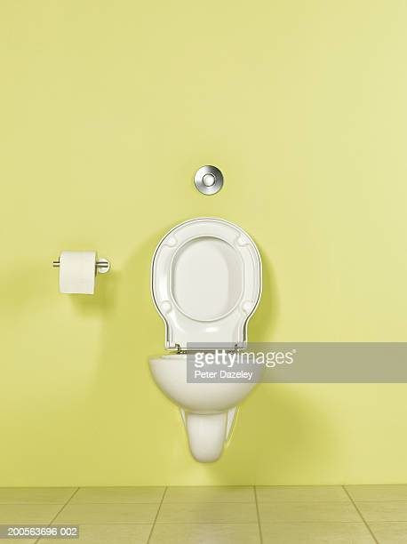Toilet in yellow room, front view