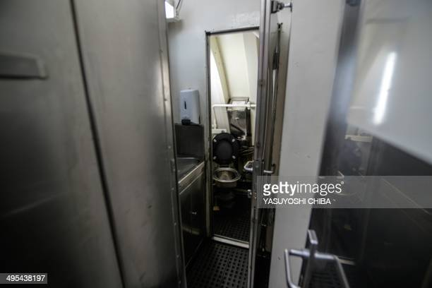 A toilet inside the BNS S34 Tikuna Brazilian dieselelectric powered type 209 attack submarine during a drill while moored at the navy base in Niteroi...