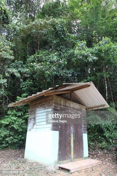 A toilet on the hiking trail French Guiana is haven for plants and animals with ninety percent of the area under tropical rainforests the country has...