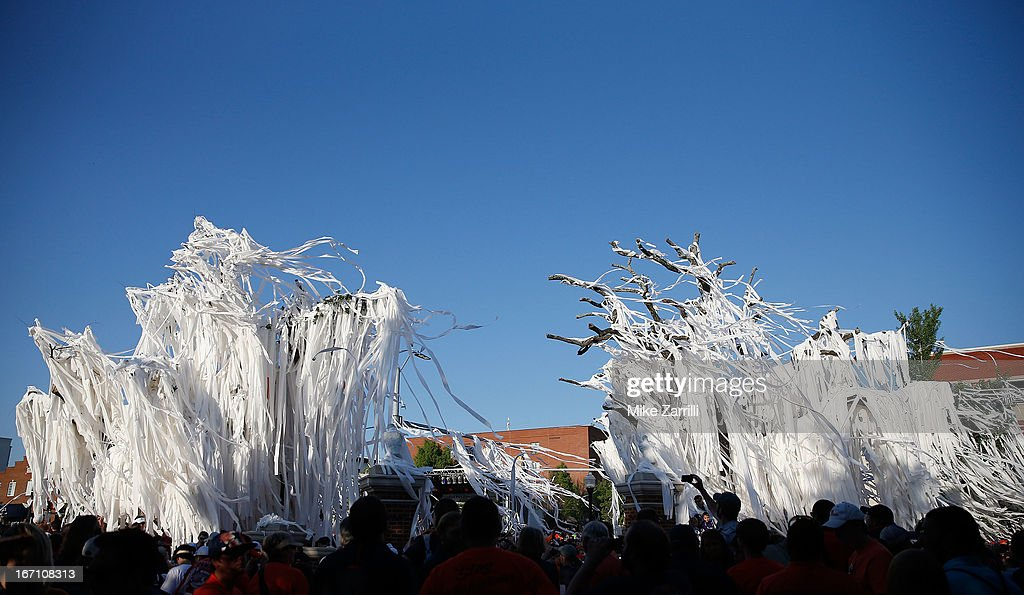 Toilet paper adorns the Auburn Oaks at Toomer's Corner Celebration on April 20, 2013 in Auburn, Alabama.