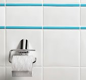 Toilet paper hanging in the bathroom