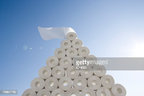 Toilet paper pilled up in pyramid