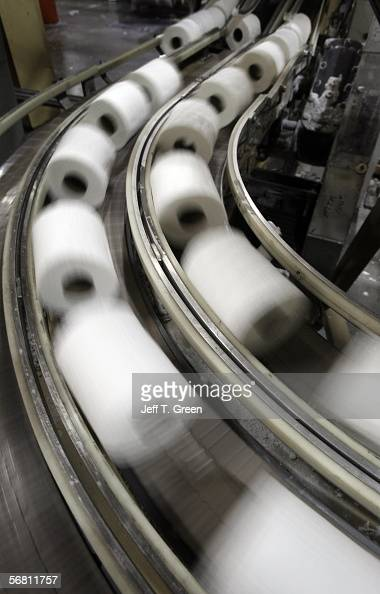 Toilet paper rolls move down a conveyer belt for packaging at Potlatch Corporation Consumer Products Division February 9 2006 in Lewiston Idaho...