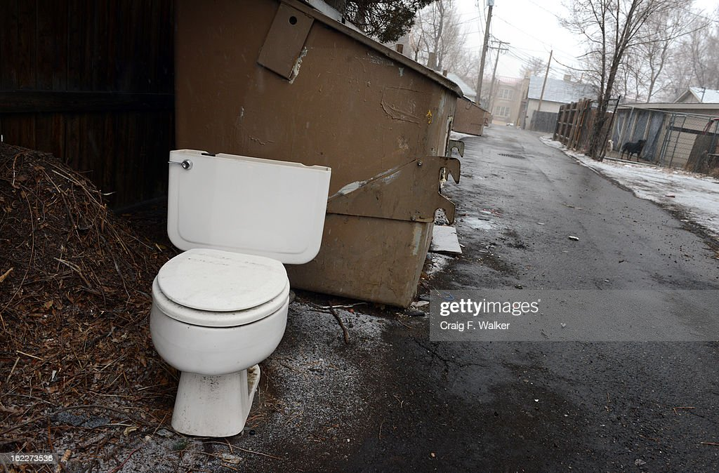 A toilet rests in an alley in the Barnum neighborhood of Denver, CO February 20, 2013. Denver City Councilman Paul Lopez is concerned about illegal dumping in the area and is pushing for a tougher ordinance in the city. 'We have to get people to realize this neighborhood is not a dumping ground,' Lopez said. 'We refuse to be treated like this.'