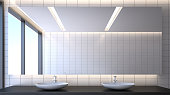 Toilet room with ceramic basins and mirror