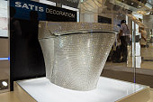 A toilet seat decorated with 72000 Swarovski crystals is on display during the Kitchen Bath China 2015 at Shanghai New International Expo Center on...