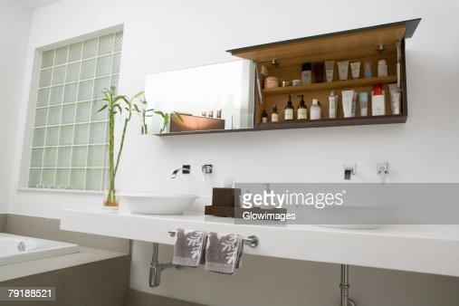Toiletries in the bathroom : Stock Photo