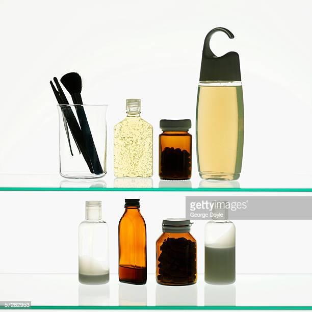 Toiletries on a shelf