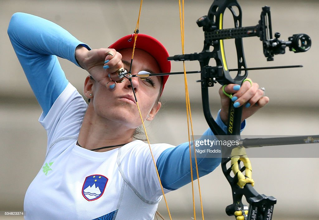 Toja Ellison of Slovenia shoots during the Mixed Compound Team Gold medal team match at the European Archery Championship on May 28, 2016 in Nottingham, England.