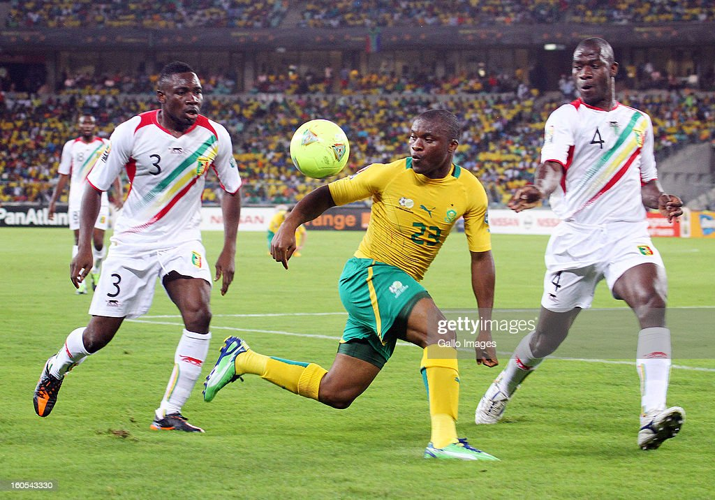 Tokelo Rantie of South Africa and Adama Coulibaly of Mali compete during the 2013 Orange African Cup of Nations Quarter Final 2 match between South Afica and Mali from Moses Mabhida Stadium on February 02, 2013 in Durban, South Africa