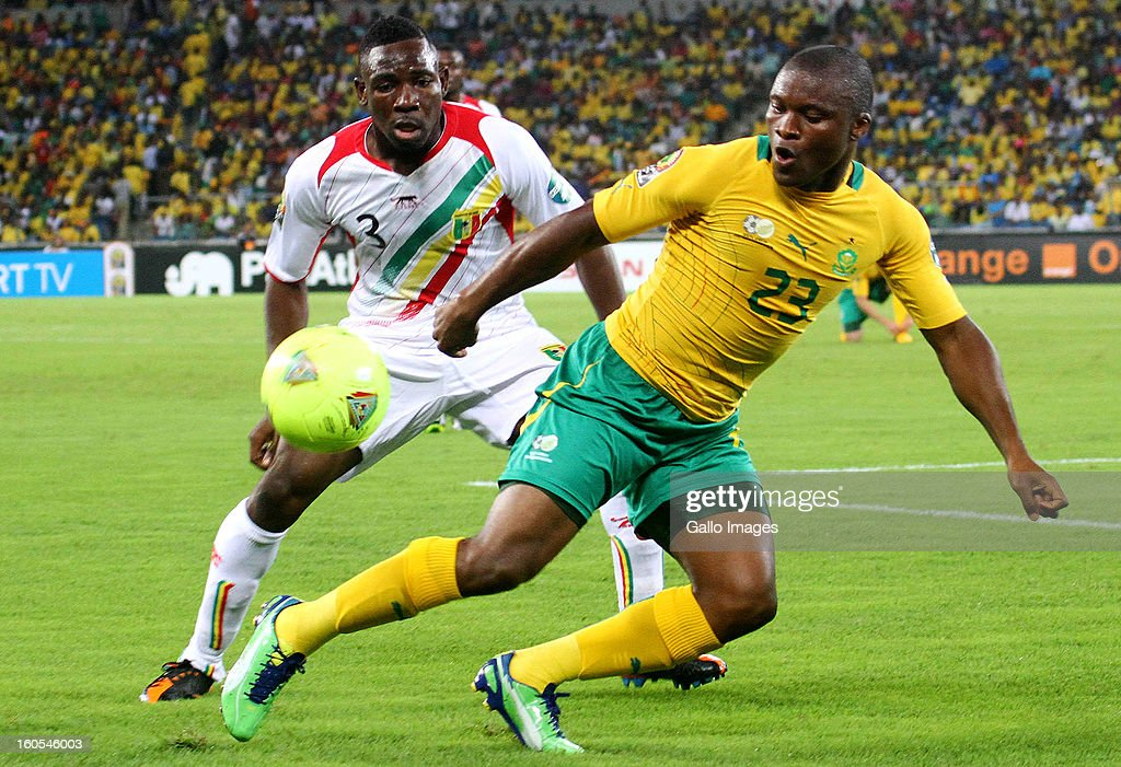 Tokelo Rantie of South Africa and Adama Tamboura of Mali during the 2013 African Cup of Nations Quarter Final 2 match between South Afica and Mali from Moses Mabhida Stadium on February 02, 2013 in Durban, South Africa.