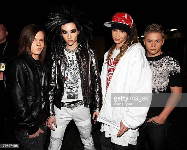 Tokio Hotel including frontman Bill Kaulitz arrive at the MTV Europe Music Awards 2007 at the Olympiahalle on November 1 2007 in Munich Germany