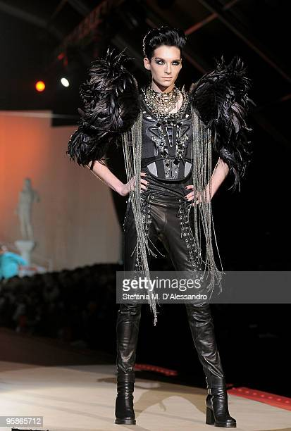 Tokio Hotel singer Bill Kaulitz walks the runway during the DSquared2 Milan Menswear Autumn/Winter 2010 show on January 19 2010 in Milan Italy