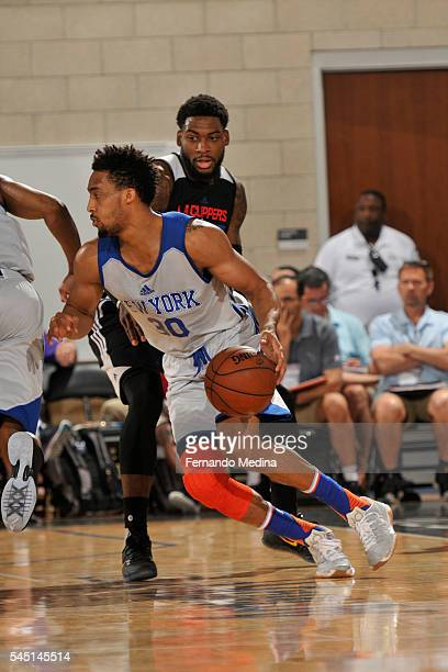 Tokoto of New York Knicks handles the ball against the Los Angeles Clippers during the 2016 Summer League at the Amway Center on July 5 2016 in...