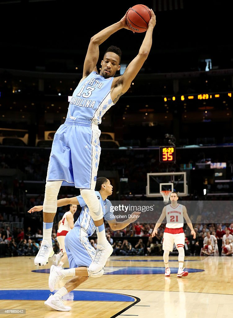 P Tokoto of the North Carolina Tar Heels rebounds the ball in the first half against the Wisconsin Badgers during the West Regional Semifinal of the...