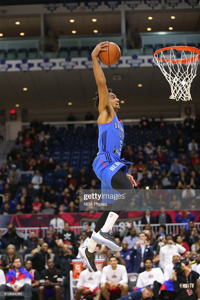 JP Tokoto #5 of the Oklahoma City Blue dunks the ball during the NBA D-League Slam Dunk Contest during the NBA D-League All Star Game 2016 presented by Kumho Tire as part of 2016 All-Star Weekend at the Ricoh Coliseum on February 13, 2016 in Toronto, Ontario, Canada.