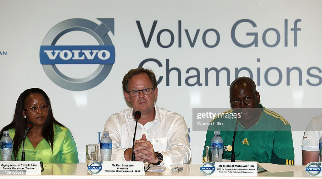 Tokozile Xasa, Deputy Minister of Tourism, South African Government, Per Ericsson, President of Volvo Event Management and Michael Mabuyakhulu, MEC for Economic Development and Tourism, KwaZulu-Natal Provincal Government address the media for the offical opening press conference of the Volvo Golf Champions with defending champion, Branden Grace of South Africa at Durban Country Club on January 9, 2013 in Durban, South Africa.