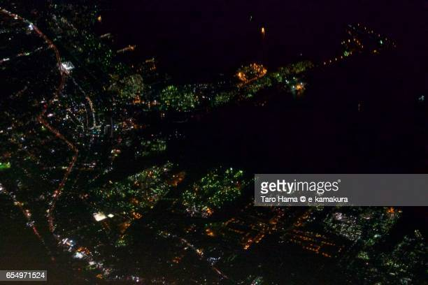 Tokuyama in Shunan city, night aerial view from airplane