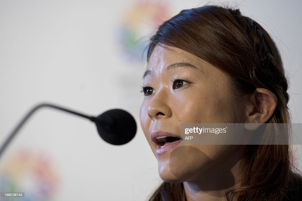 Tokyo 2020 bid ambassador and four-time football Olympian and London 2012 Games silver medalist, Homare Sawa, speaks during a press conference in London on January 10, 2013 to launch their candidature file for the 2020 Olympic and Paralympic Games. Tokyo is bidding to host its first Summer Olympics since the 1964 Games. The plan features a 'compact' and 'dynamic' Olympics based on Tokyo's financial wealth and track record in hosting international sports events. It also aims to allay fears of damage from a big earthquake or radiation from the 2011 Fukushima nuclear disaster. AFP PHOTO/BEN STANSALL