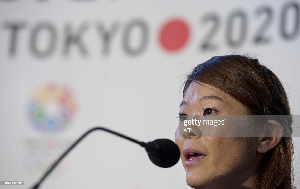 Tokyo 2020 bid ambassador and four-time football Olympian and London 2012 Games silver medalist, Homare Sawa, speaks during a press conference in London on January 10, 2013 to launch their candidature file for the 2020 Olympic and Paralympic Games. Tokyo is bidding to host its first Summer Olympics since the 1964 Games. The plan features a 'compact' and 'dynamic' Olympics based on Tokyo's financial wealth and track record in hosting international sports events. It also aims to allay fears of damage from a big earthquake or radiation from the 2011 Fukushima nuclear disaster.