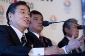 Tokyo 2020 bid chief executive Masato Mizuno speaks during a press conference in London on January 10 2013 to launch their candidature file for the...