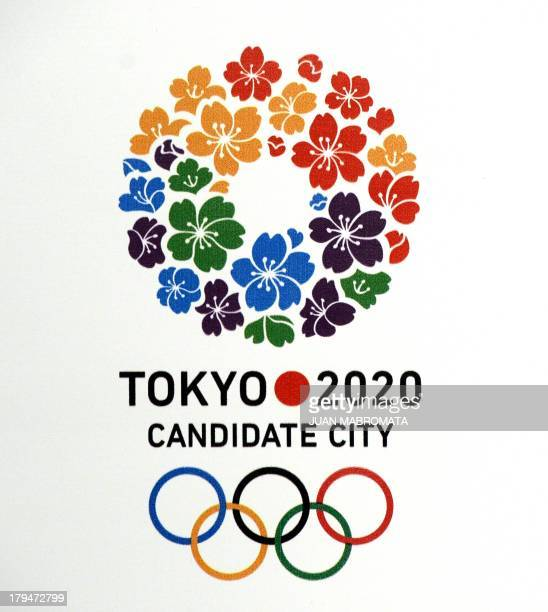 Tokyo 2020 candidate city logo is seen before a press conference given by the International Olympic Committee member and President of the Japanese...