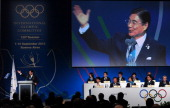 Tokyo 2020 CEO and Japan's Olympic Committee vicepresident Masato Mizuno speaks during the final presentation of the Tokyo 2020 bid during the 125th...