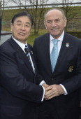 Tokyo 2020 CEO Masato Mizuno and the Major of Istanbul Kadir Topbas pose on January 7 2013 at the headquarters of the International Olympic Committee...