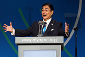 Tokyo 2020 CEO Masato Mizuno speaks during the Tokyo 2020 bid presentation during the 125th IOC Session 2020 Olympics Host City Announcement at...