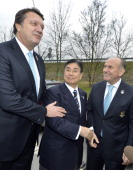 Tokyo 2020 CEO Masato Mizuno with the Bid Committie Leader of Istanbul 2020 Hasan Arat and the Major of Istanbul Kadir Topbas talk on January 7 2013...