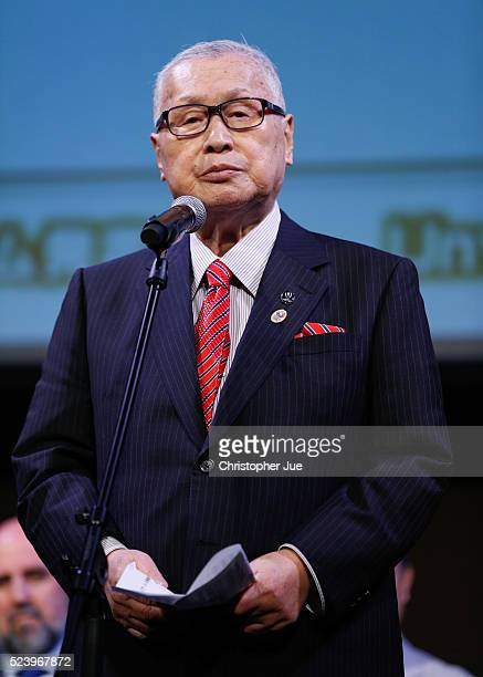 Tokyo 2020 President Yoshiro Mori attends the 2020 Olympic/Paralympic Games Emblems unveiling ceremony on April 25 2016 in Tokyo Japan Tokyo 2020...