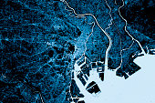 "Blue toned Satellite Image of Tokyo, Japan. Digital Composite.""r""rContains modified Copernicus Sentinel data (December 09, 2016) courtesy of ESA. URL of source image: https://scihub.copernicus.eu/dhus"