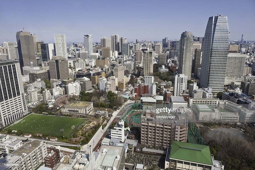 Tokyo aerial city life view skyscrapers apartments homes offices Japan :  Stock Photo