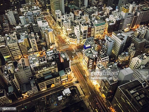 上空から見た東京のストリート
