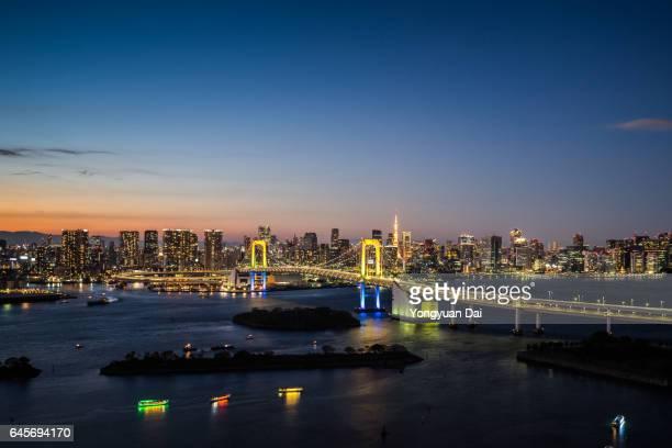 Tokyo Bay and Rainbow Bridge at Dusk