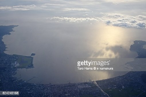 Tokyo Bay and Tateyama city in Chiba prefecture sunset time aerial view from airplane : ストックフォト