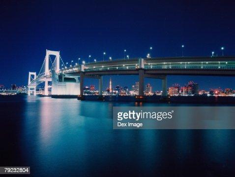 Tokyo Bay, Rainbow Bridge, Tokyo : Stock Photo