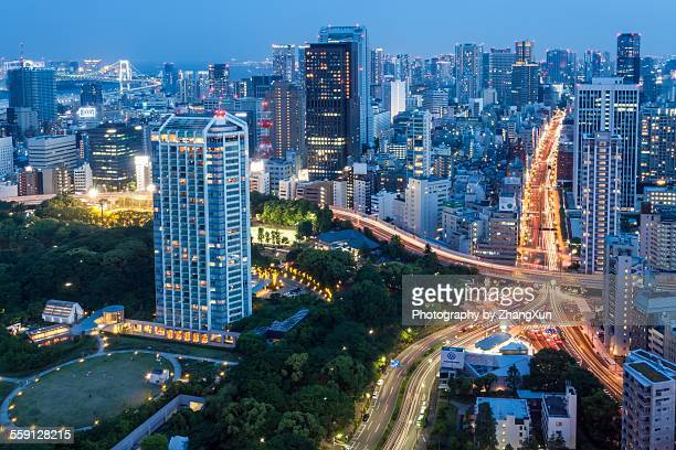 Tokyo city at night with skyscrapers and highway